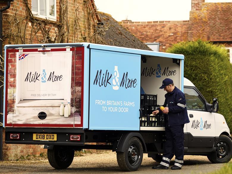 camión milk & more en Inglaterra
