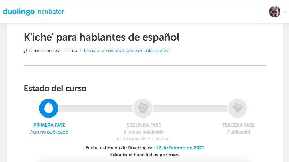duolingo incubator kiche para hablantes de español